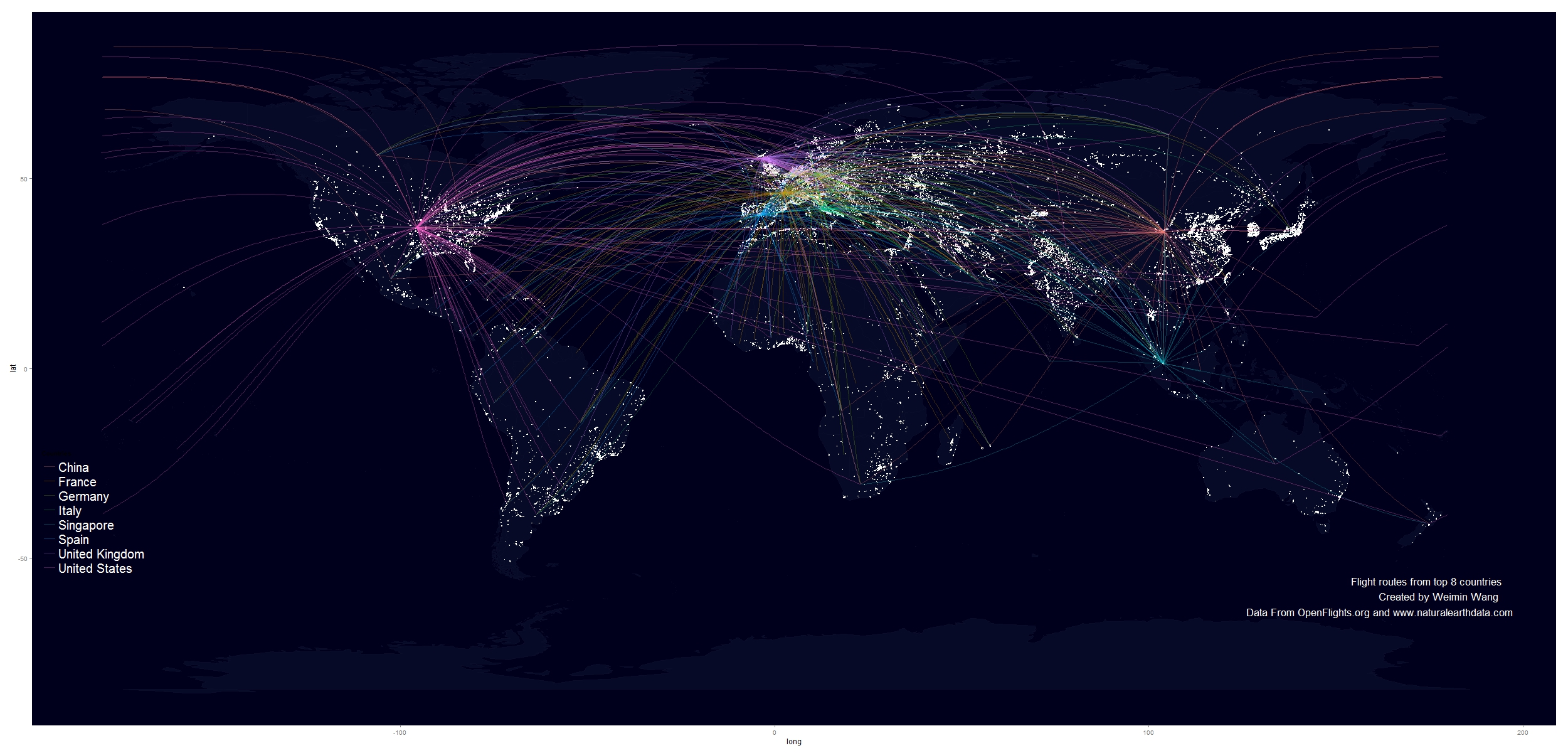 Use R To Map Flight Routes Onto A Fancy Worldmap Background - World map data